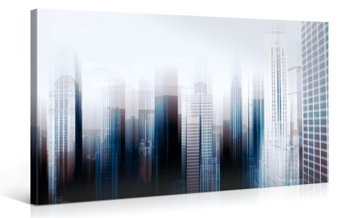 HIGH RISE - Premium Canvas Art Print - 40x20 inch Large New York Cityscape Wall Art Deco - Canvas Picture Stretched on Wooden Frame as Modern Gallery Artwork / e1816