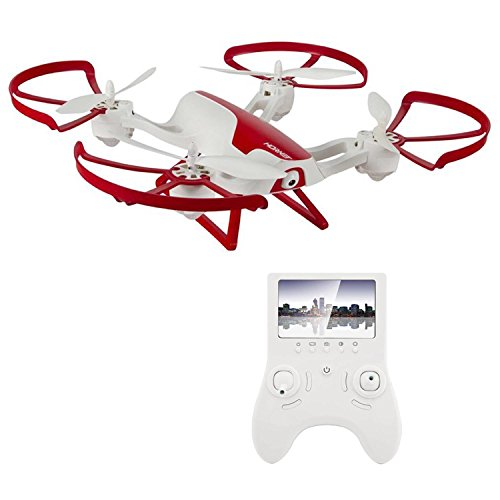 Hornet FPV Drone with HD Camera 720p - RC Quadcopter with Altitude Hold, Return Home, Headless Mode and Flip Mode (White and Red) - Includes Extra Batteries for Drone and Controller