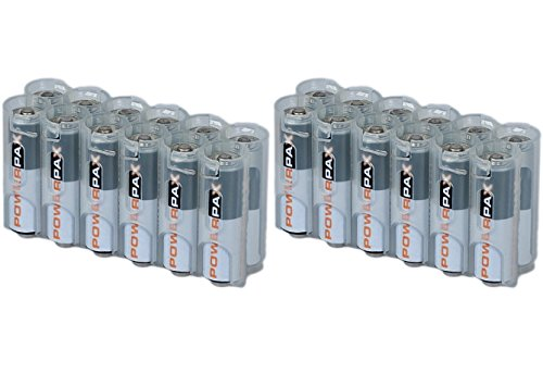 2 x Battery Cases By Powerpax Slim Line AA Battery Caddy, Clear - Each Holds 12 AA Batteries