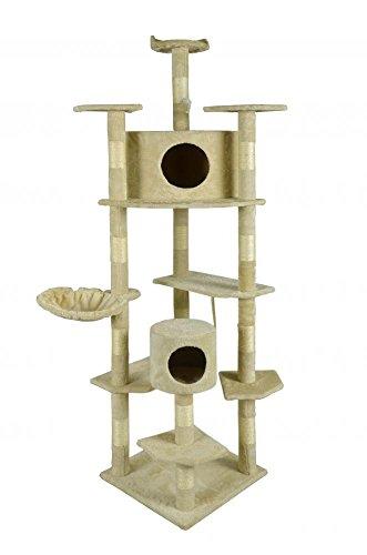 BestPet Cat Tree Condo Furniture Scratch Post Pet House, 80-Inch, Beige