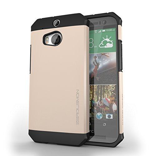 ZeroLemon® All New HTC One M8 Case - Razor Armor Champagne Gold / Black Hybrid Protective Case - Premium Cover for HTC One 2014 [180 Days Warranty]