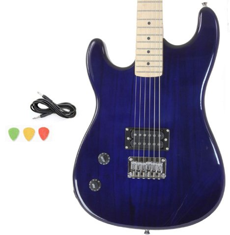 Left Handed Blue Full Size Electric Guitar With Cord And Picks By Davison