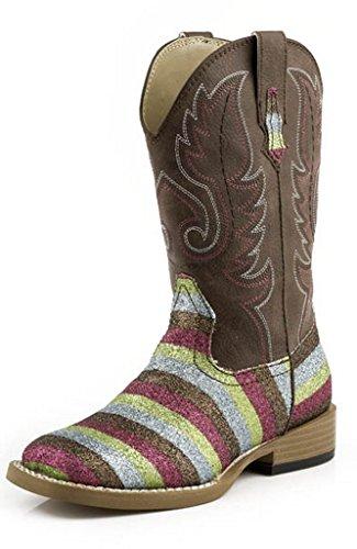 Roper Girls' Glittery Striped Cowgirl Boot Square Toe