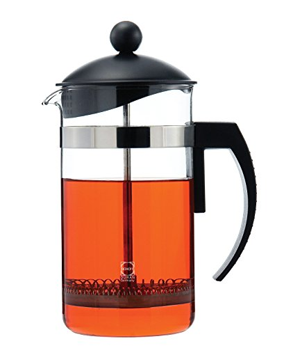 GROSCHE Findon 34 oz/1000 ml French Press: Extra Ultra-fine Micro-mesh Filter, Schott Germany Glass Beaker. INCLUDES 1 FREE REPLACMENT MESH SCREEN (A $10 Value!!)