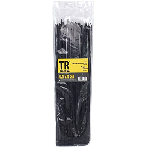 TR Industrial Multi-Purpose UV Resistant Black Cable Ties, 14 inches, 100 Pack