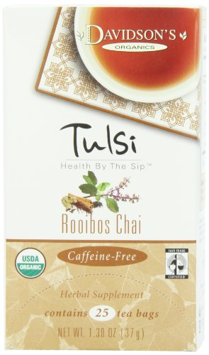 Davidson's Tea Tulsi Rooibos Chai, 25-Count Tea Bags (Pack Of 6))