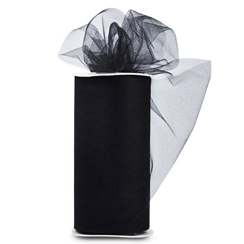 Expo TL2402-BK Trim and Embellishments Shiny Tulle 6-Inch Wide 25yd Spool-Black