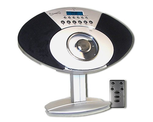 SuperSonic SC-3311 Vertical CD Player AM FM Alarm Clock Stereo System