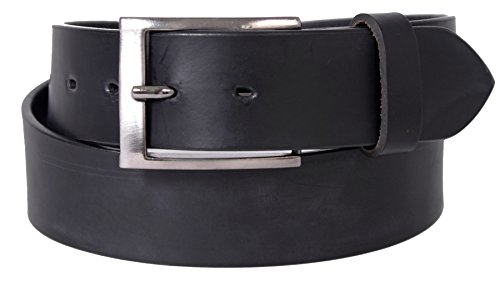 Champs Men's Genuine Leather 38mm Belt with Silver Buckle Black 36