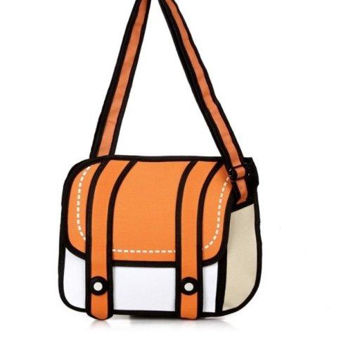 Unisex Cute Messenger Bag Comic Bag 2d Drawing 3d Jump From Cartoon Paper Orange