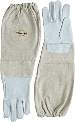 NATURAL APIARY® BEEKEEPING GLOVES - GOATSKIN - STING PROOF CUFFS - SMALL - Soft & Durable Leather - Long Thick Sleeves ...