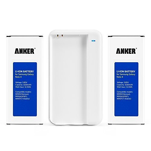 [NFC/Google Wallet Capable] Anker 2 x 3220mAh Li-ion Batteries for Samsung Galaxy Note 4, N910, N910U 4G LTE, N910V(Verizon), N910T(T-Mobile), N910A(AT&T) with Anker Travel Charger, and 18-Month Warranty
