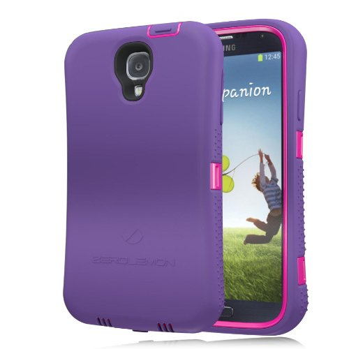 [180 days warranty] ZeroLemon Samsung Galaxy S4 ZeroShock Shockproof/Dustproof Rugged Cute Pink / Majestic Purple Case + Holster/KickStand + Screen Protector for Original Slim & 7500mAh Extended Battery Case ***Battery NOT Included*** (Compatible with AT&T I337, Verizon I545, Sprint L720, T-Mobile M919, International I9500 & I9505) S4-R-Pink/Purple