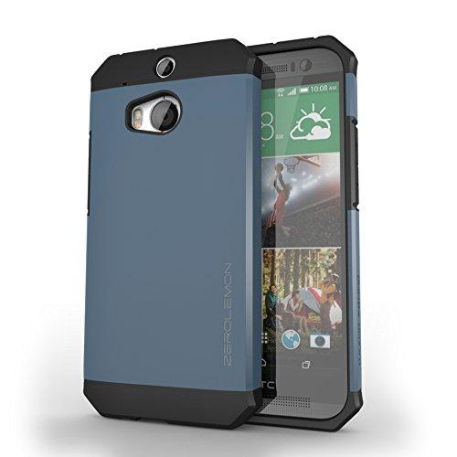 ZeroLemon® All New HTC One M8 Case - Razor Armor Navy Blue / Black Hybrid Protective Case - Premium Cover for HTC One 2014 [180 Days Warranty]