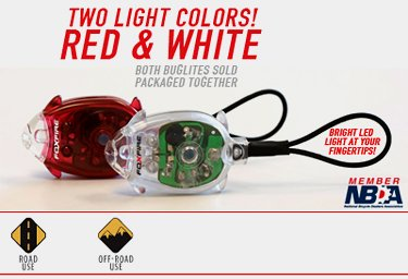 FoxFire Bug Lites, 2 Lite Combo - 1 Red LED & 1 White LED