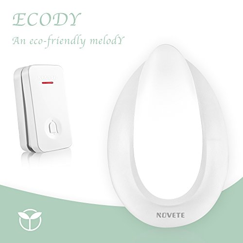 Wireless Doorbell, Novete Ecody IP7 Waterproof Wireless Door Chime Kit with Kinetic Energy Transmitter No Battery Required and Plug-in Nightlight Function Receiver, 500 Feet Range and 32 Melodies