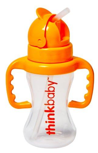 Thinkbaby Thinkster Straw Bottle, 9 Ounce, Natural/Orange