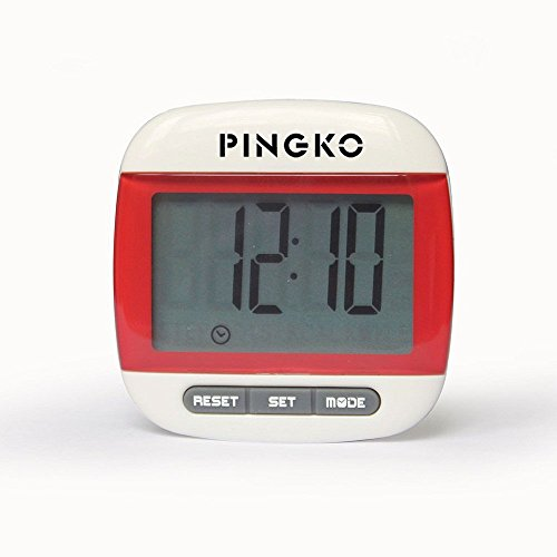 PINGKO Portable LCD Digital Multi Pedometer Calorie Counter Walking Step Distance Pedometer with Clock - Red