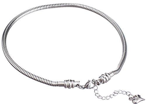 Cat Eye Jewels Stainless Steel Snake Chain Starter Charm Bracelet(8.5Inch)