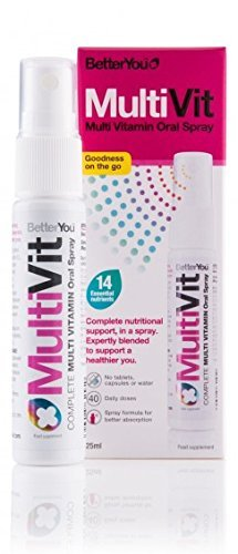 BetterYou MultiVit Multi Vitamin Daily Oral Spray 25ml A B C D Folic Acid - 160 Sprays - 40 Day supply