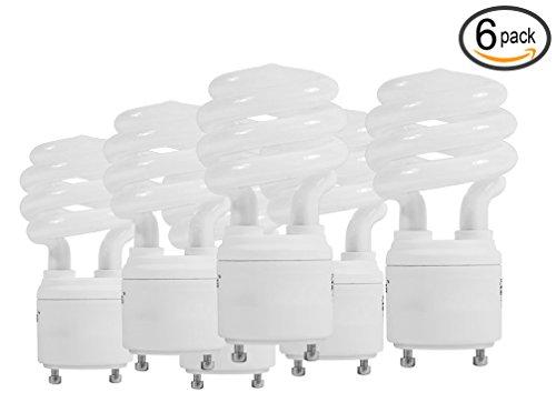 (Pack of 6) 23W Spiral GU24 Base Light Bulb Cool White 4100K Twist-N-Lock Lamp