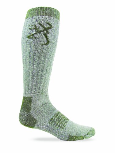 Browning Hosiery Men's Over-the-Calf Heavyweight Wool Blend Socks-Pack of 2, Green, Large