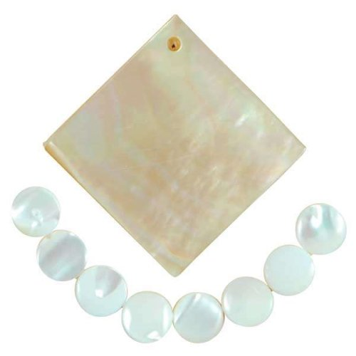 Mother of Pearl Pendant & Beads - 9 Pieces Natural