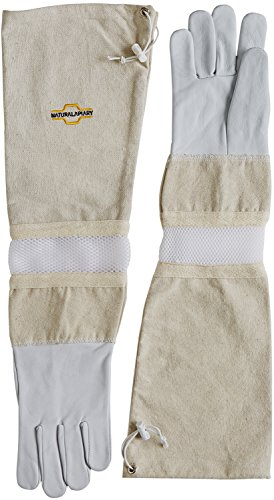 NATURAL APIARY® BEEKEEPING GLOVES - GOATSKIN - ADJUSTABLE - VENTED SLEEVES & STING PROOF CUFFS - Durable Leather - Extra Long Thick Sleeves - Money Back Guarantee