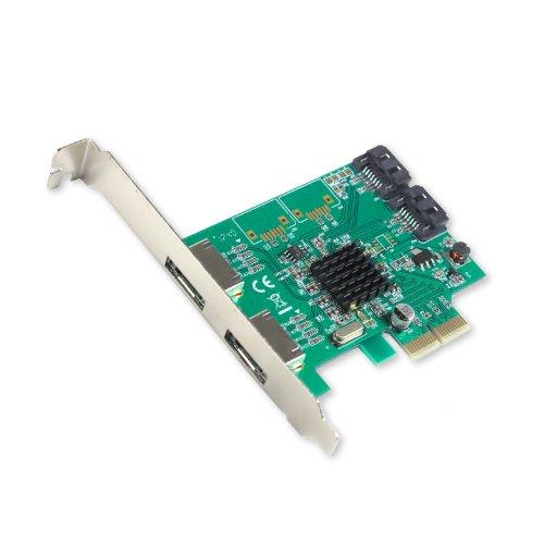IO Crest 2 Port SATA III 2 Port eSATA III PCIe 2.0 x 2 Card Components SI-PEX40063, Green