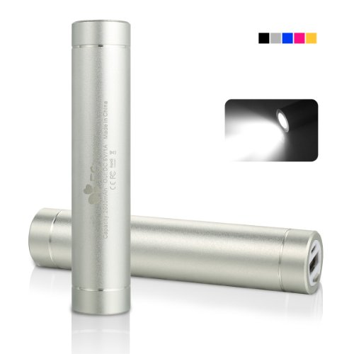 EC Technology® 2600mAh Mini Power Bank Lipstick-Sized Portable External Battery Charger for iPhone 6 Plus 5S 5C 5 4S, iPad Mini, Samsung Galaxy S5 S4 Note, Nexus, LG, HTC, Nokia, more Phones and Tablets - Sliver