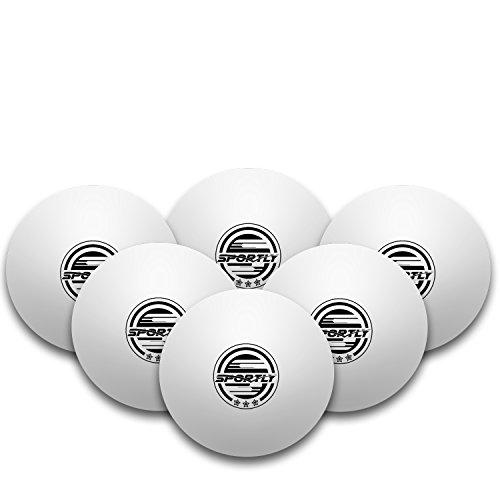 Sportly® Table Tennis Ping Pong Balls, 3-Star 40mm Advanced Training Regulation Size Balls,6 Pk White