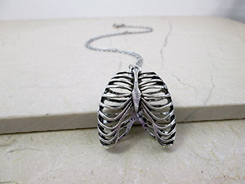 Jewelry tycoon®Antique Silver Human Anatomy Rib Cage Necklace Anatomical Jewelry Medical Student Gift Trendy Punk Cool Necklace Edgy Hipster Jewelry Teen