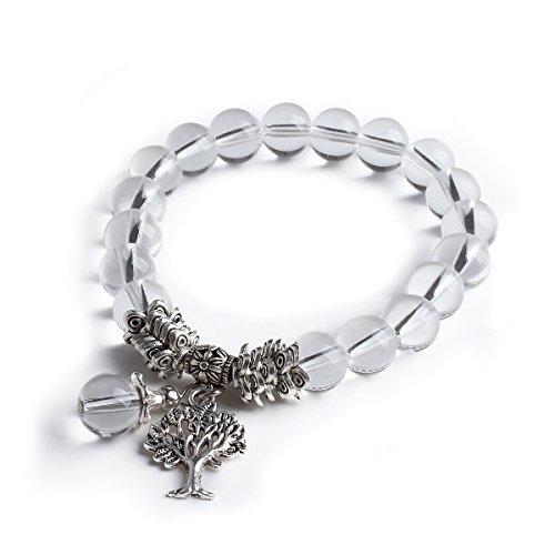 Cat Eye Jewels Tibetan Silver Tree of Life Charm Meditation Energy Mala Birthstone Bracelet April Crystal H4