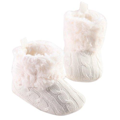 LiveBox Infant Baby Cotton Knit Premium Soft Sole Anti-Slip Mid Calf Warm Winter Prewalker Toddler Boots (M: 6~12 months, White)