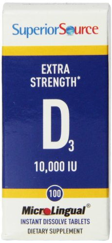 Superior Source Extra Strength Vitamin D 10,000 IU Tablet, 100 Count