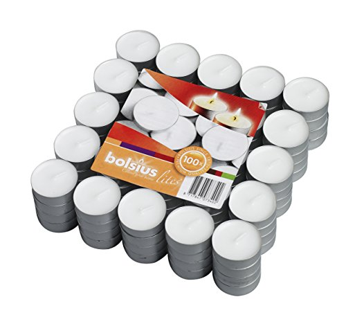 Bolsius 100 Pack Unscented White Tea light Candles Burns Aprx. 3.5 Hour