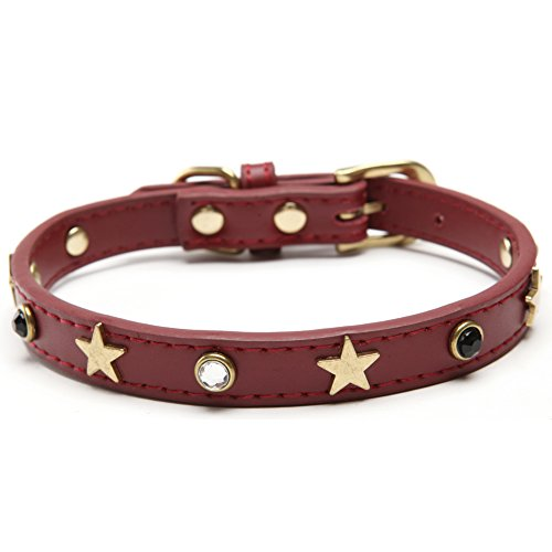 BingPet BA2001X Designer Leather Studded Dog Collars for Pet Puppy - Red Extra Large