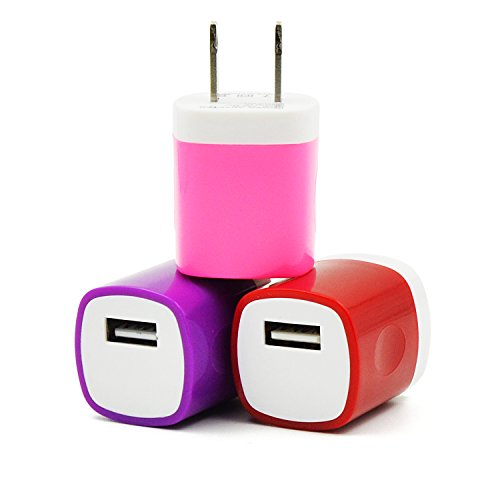 Eversame 3 Packs USB AC/DC 1.0A Universal Home Travel Power Charger Adapter For iPhone 6S Plus/5S/4S iPod Samsung Galaxy S6/5/4 edge Note 5/4/3 HTC LG Nokia and Most Android Phones(Pink Red Purple)