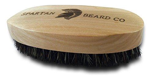 Wooden Beard Brush by Spartan Beard Co. - Boar Bristle Brush for Men's Grooming Kit - Best Beard Comb for Men - Great for Beard Oil, Beard Balm & Beard Wax---Comes packaged in Cotton Drawstring bag