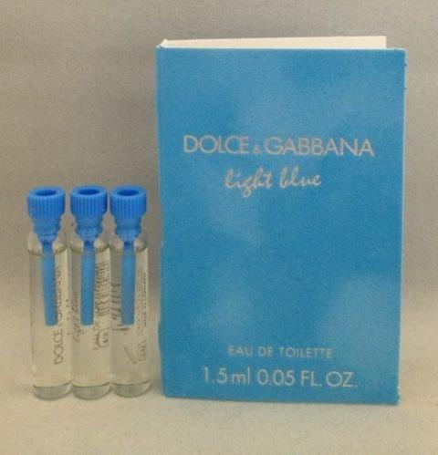 3 Dolce Gabbana Light Blue EDT Women Splash Sample Perfume Travel Vial .05oz Each Lot