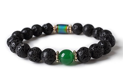 Unisex 10mm Natural Lava Rock Energy Bracelet with Birth Month Crystal Ston Discolor Mood Charm H37