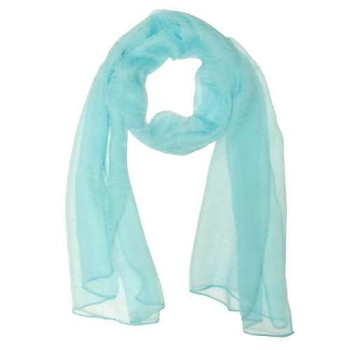 Wrapables Solid Color 100% Silk Long Scarf, Pastel Blue