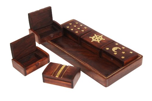 Wooden Hand Crafted  Set of 6 Decorative Pill Storage   Keepsake Trinket Boxes  with Tray Home Accessory