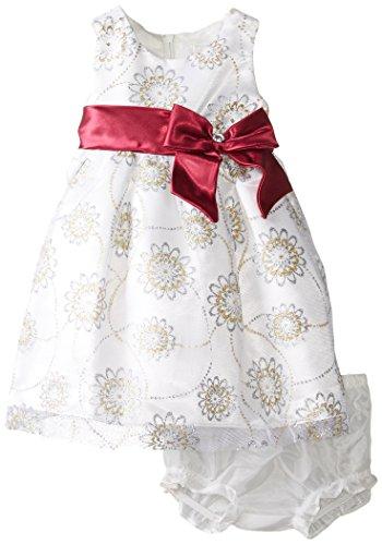 Nannette Baby-Girls Newborn 2 Piece Satin Floral Mesh Dress with Panty, White, 3-6 Months