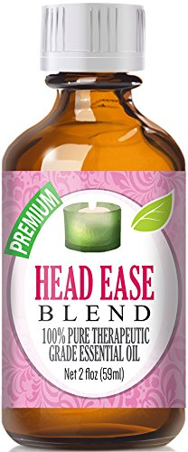 Head Ease 100% Pure, Best Therapeutic Grade Essential Oil Blend - 60ml / 2 (oz) Ounces - Comparable to DoTerra's PastTense & Young Living's M-Grain Blend - French Lavender, Peppermint, Wintergreen, Basil, Frankincense, Rosemary, Sweet Marjoram, Sweet Orange