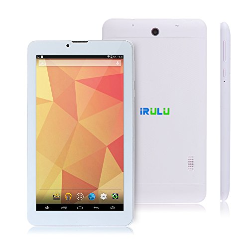 IRULU 7 Dual Core Phablet, Android Phone Tablet, Google Android 4.4 KitKat Android Tablet PC, 8GB, 1024x600 HD multi-touch Screen ,Bluetooth 4.0, GPS, Dual Camera, Dual SIM Cards Supported, 2G/3G Phablet -White