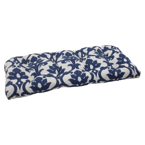 Pillow Perfect Indoor/Outdoor Bosco Wicker Loveseat Cushion, Navy