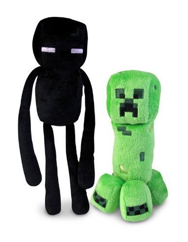 Official Minecraft Overworld 7 Creeper & 10 Enderman Plush SET of 2
