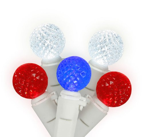 Set of 50 Red, Pure White & Blue 4th of July LED G12 Berry Christmas Lights - White Wire