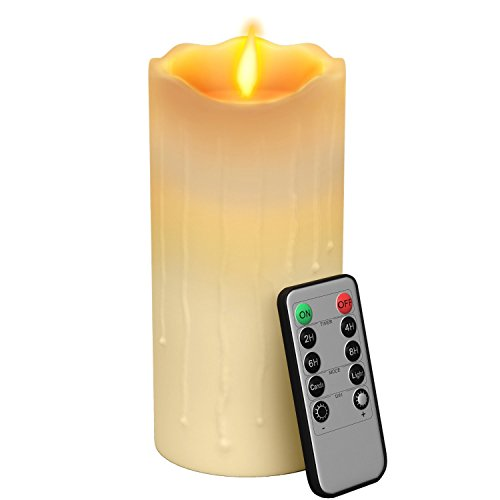 Gideon™ 7 Inch Flameless LED Candle - Dripping Style - Real Wax & Real Flickering Candle Motion - with Multi-Function Remote (On/Off, Timer, Dimmer) - Vanilla Scented, Ivory